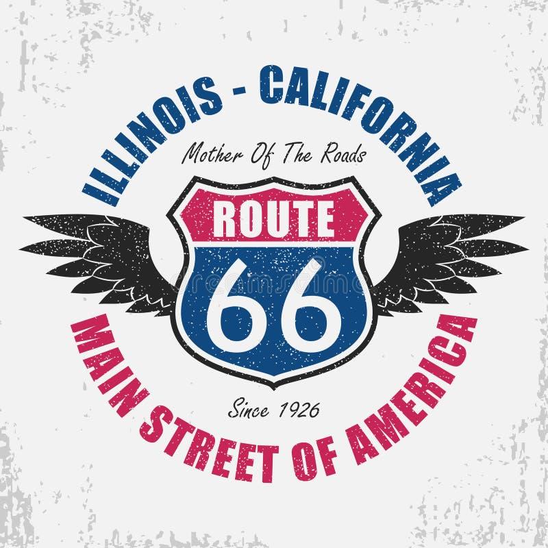Gráfico da tipografia de Route 66 para o t-shirt A roupa original projeta com grunge, asas e slogan Ilustração do vetor ilustração stock
