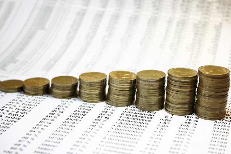 Gráfico das moedas fotos de stock