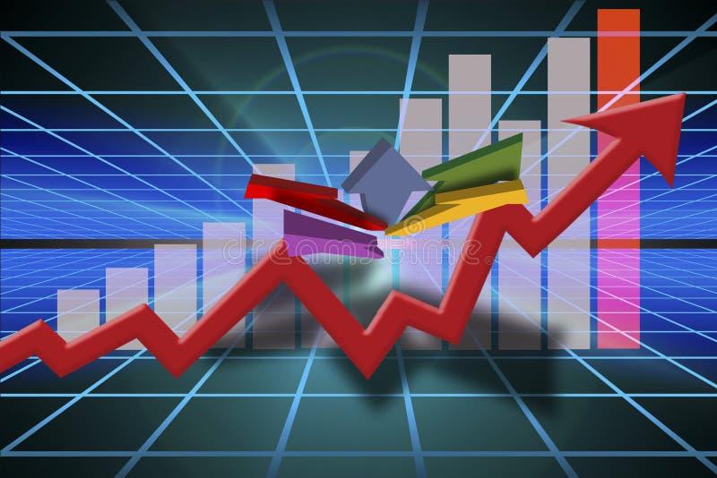 Gráfico das vendas do negócio do mercado ilustração do vetor