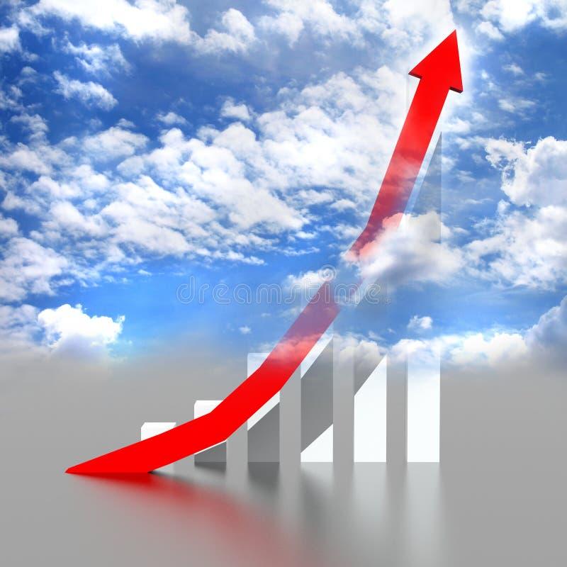 Gráfico de asunto con que sube la flecha roja stock de ilustración