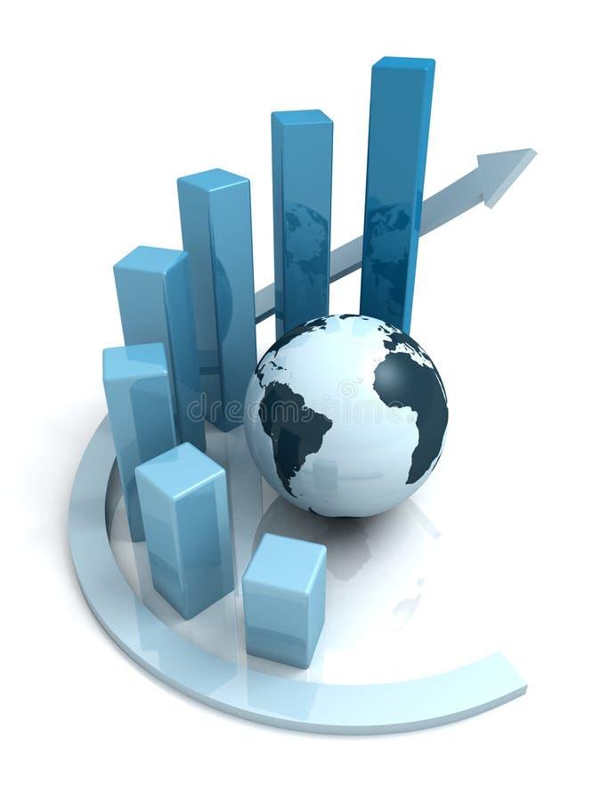 Gráfico de barra azul do crescimento do negócio global com seta ilustração do vetor