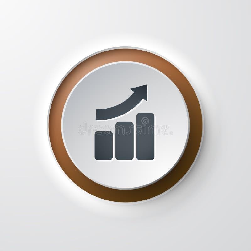 Gráfico de barra de botão de pressão do ícone da Web acima ilustração do vetor