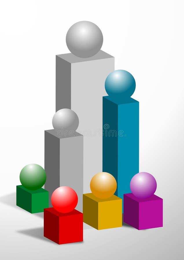 Gráfico de barra colorido ilustração do vetor