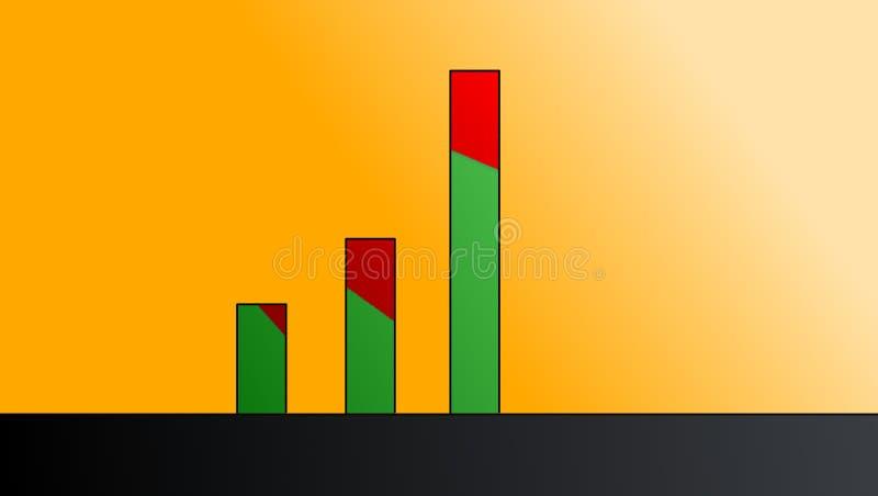 Gráfico de barra com áreas vermelhas fotografia de stock royalty free