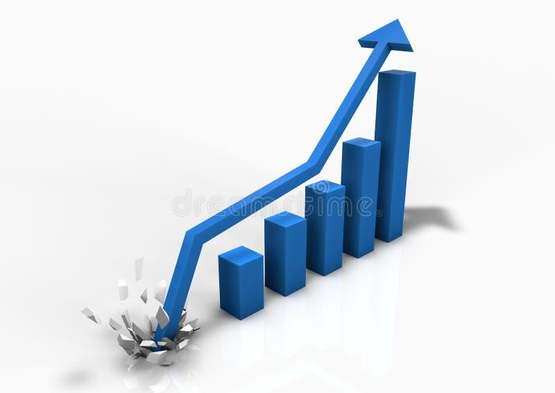 Gráfico de barra crescendo do negócio ilustração royalty free