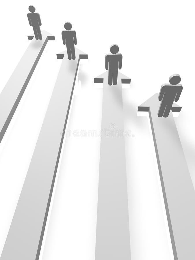 Gráfico de barra da seta com povos ilustração stock