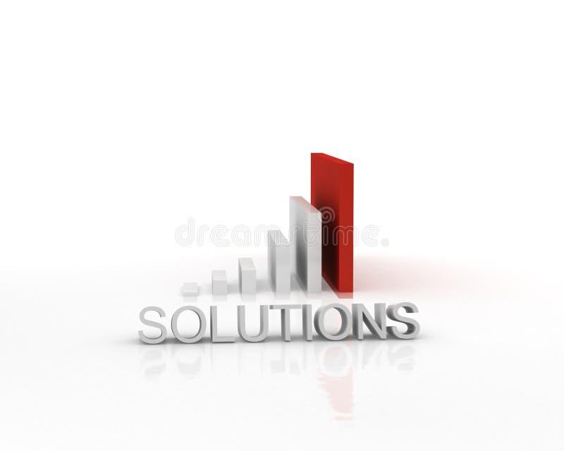 Gráfico de barra de las soluciones 3D stock de ilustración