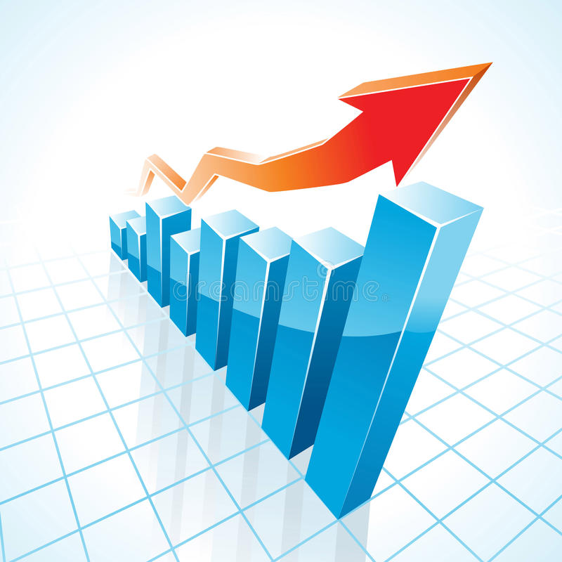 gráfico de barra del crecimiento del asunto 3d ilustración del vector
