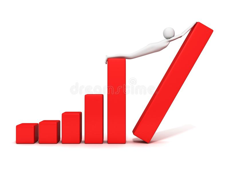 Gráfico de barra del negocio del éxito y hombre de levantamiento 3d ilustración del vector