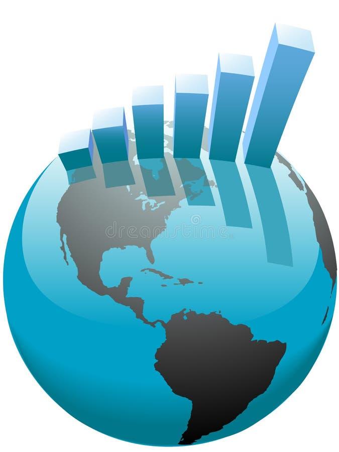 Gráfico de barra do crescimento do negócio global no mundo ilustração stock