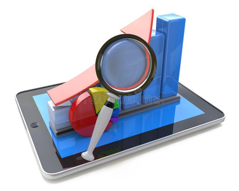 Gráfico de barra e lupa no PC da tabuleta - análise de negócio, ilustração stock