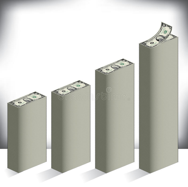 Gráfico de barra hecho de billetes de dólar ilustración del vector
