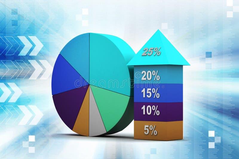 Gráfico de barra que muestra crecimiento con el gráfico de sectores stock de ilustración