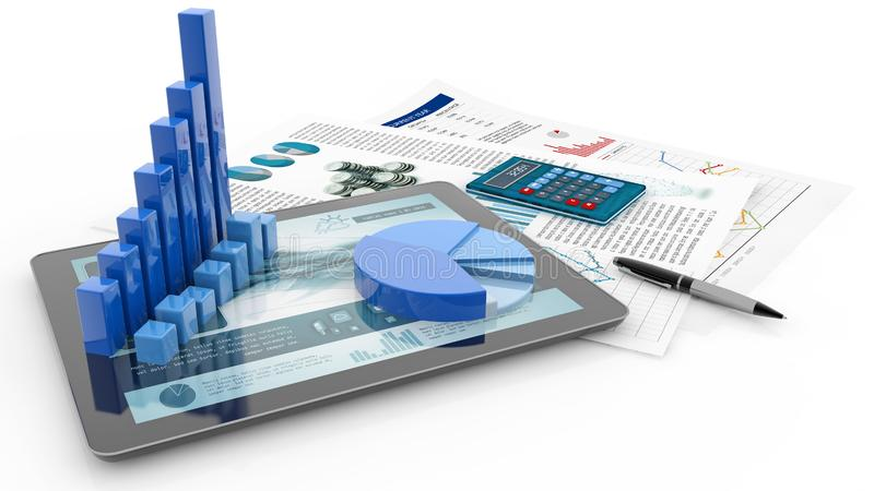 Gráfico de barra, tableta y papel del informe imagen de archivo