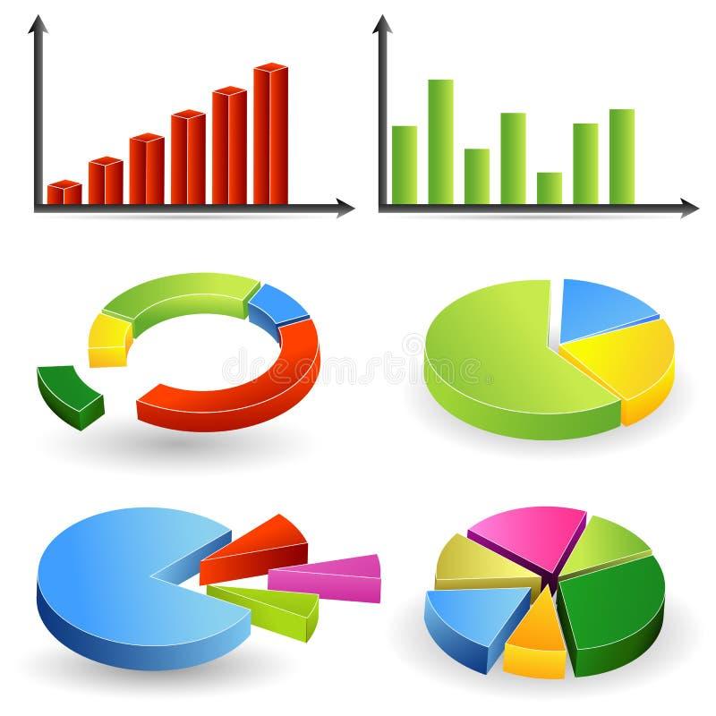 Gráfico de barra y gráfico de sectores ilustración del vector