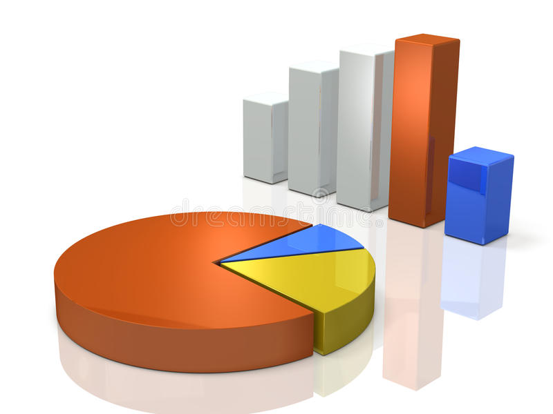 Gráfico de barra y gráfico de sectores Imagen de fondo ilustración del vector