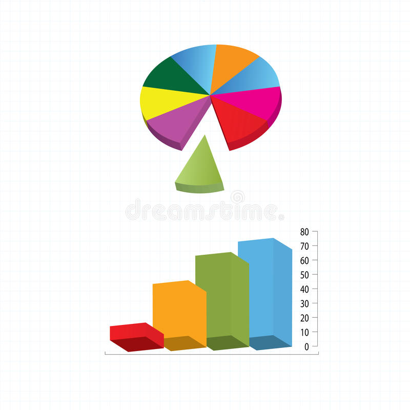 gráfico de barras 3d ilustração royalty free