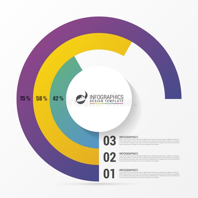 Gráfico de círculo da carta de torta Molde moderno do projeto de Infographics ilustração royalty free