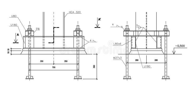 Gráfico de construcción, el asegurar de acero de la columna ilustración del vector