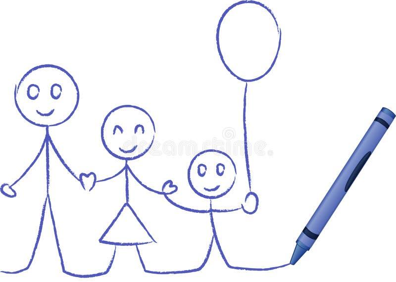 Gráfico de creyón de una familia - ilustración del vector ilustración del vector