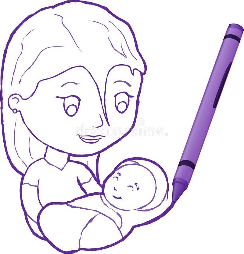 Gráfico de creyón de una madre con el niño ilustración del vector