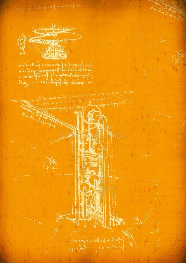 Gráfico de ingeniería de Da Vinci de Leonardo imagen de archivo