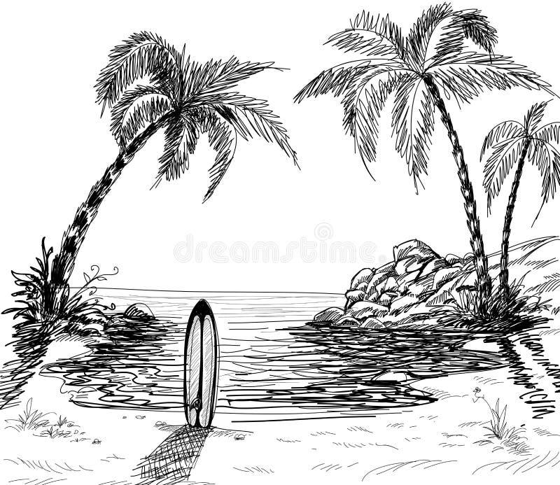 Gráfico de lápiz del paisaje marino ilustración del vector