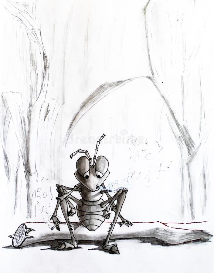 Gráfico de lápiz Una hormiga cansada se sentó en un registro y fuma Vida inconsciente stock de ilustración