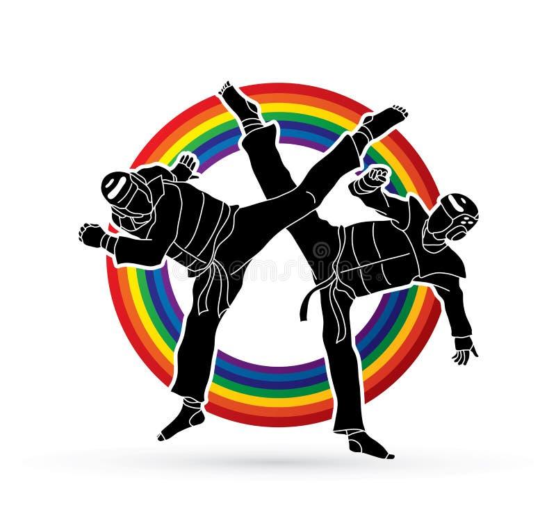 Gráfico de la acción del Taekwondo que lucha libre illustration