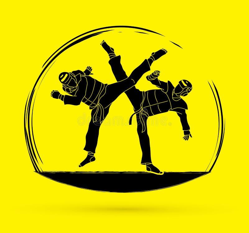 Gráfico de la acción del Taekwondo que lucha stock de ilustración