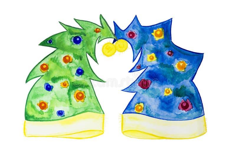 Gráfico de la acuarela El artista pintó un árbol de navidad azul y verde bajo la forma de sombreros ilustración del vector