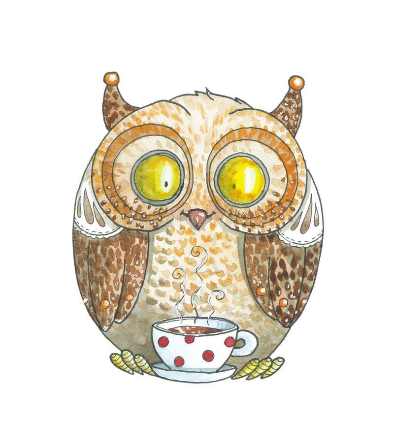 Gráfico de la acuarela Owl Drinking Tea anaranjado libre illustration