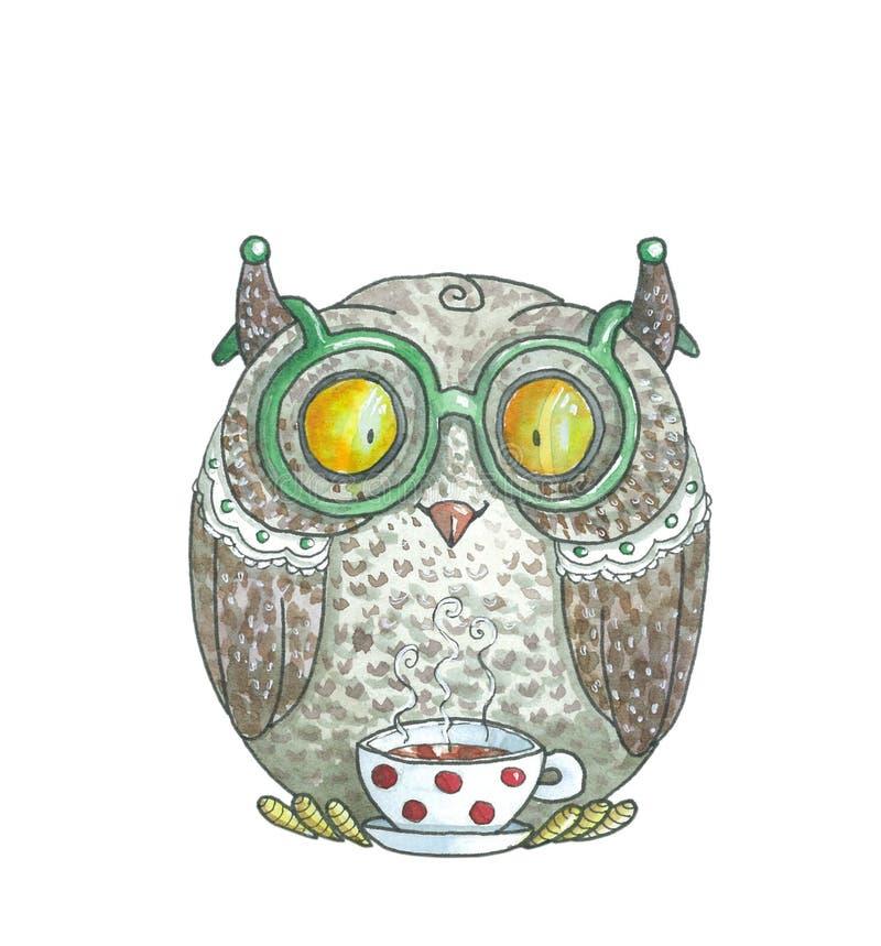 Gráfico de la acuarela Owl Drinking Tea verde stock de ilustración