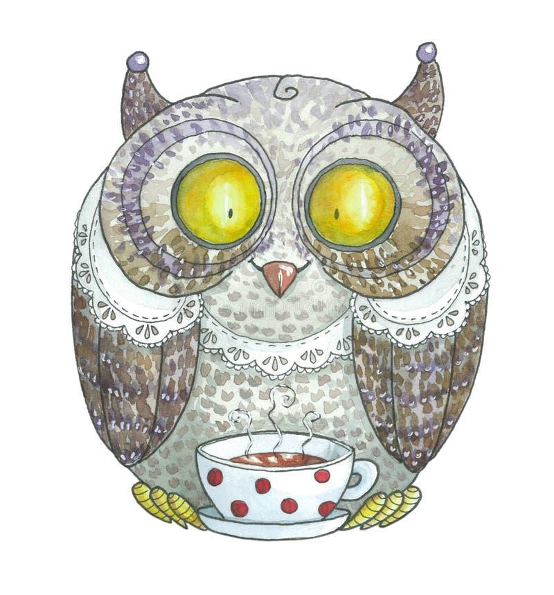 Gráfico de la acuarela Violet Owl Drinking Tea ilustración del vector