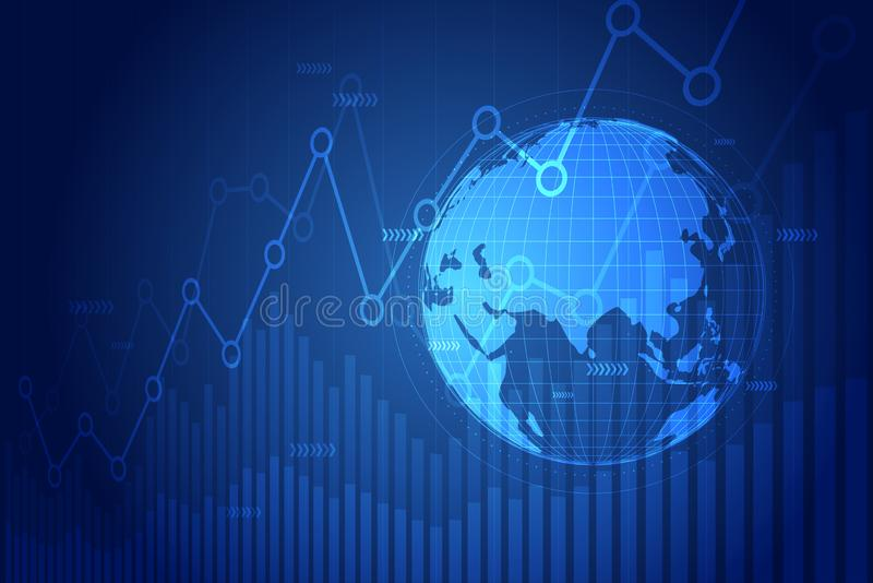 Gráfico de la bolsa Carta del gráfico del crecimiento del negocio de la inversión del mercado de acción que negocia en diseño osc libre illustration