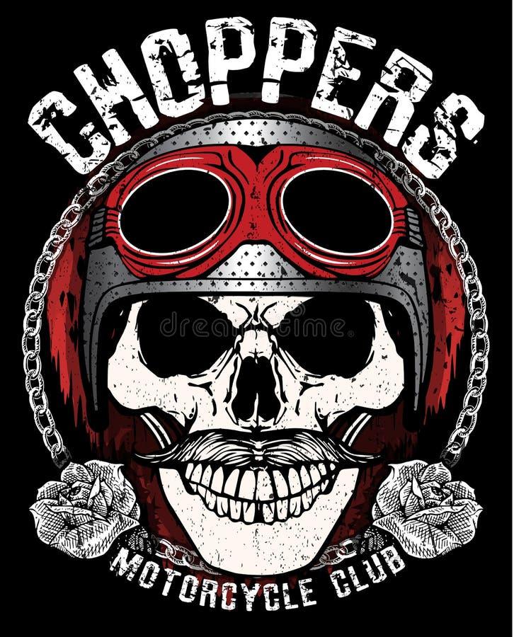Gráfico de la camiseta del emblema del cráneo del motorista del vintage stock de ilustración