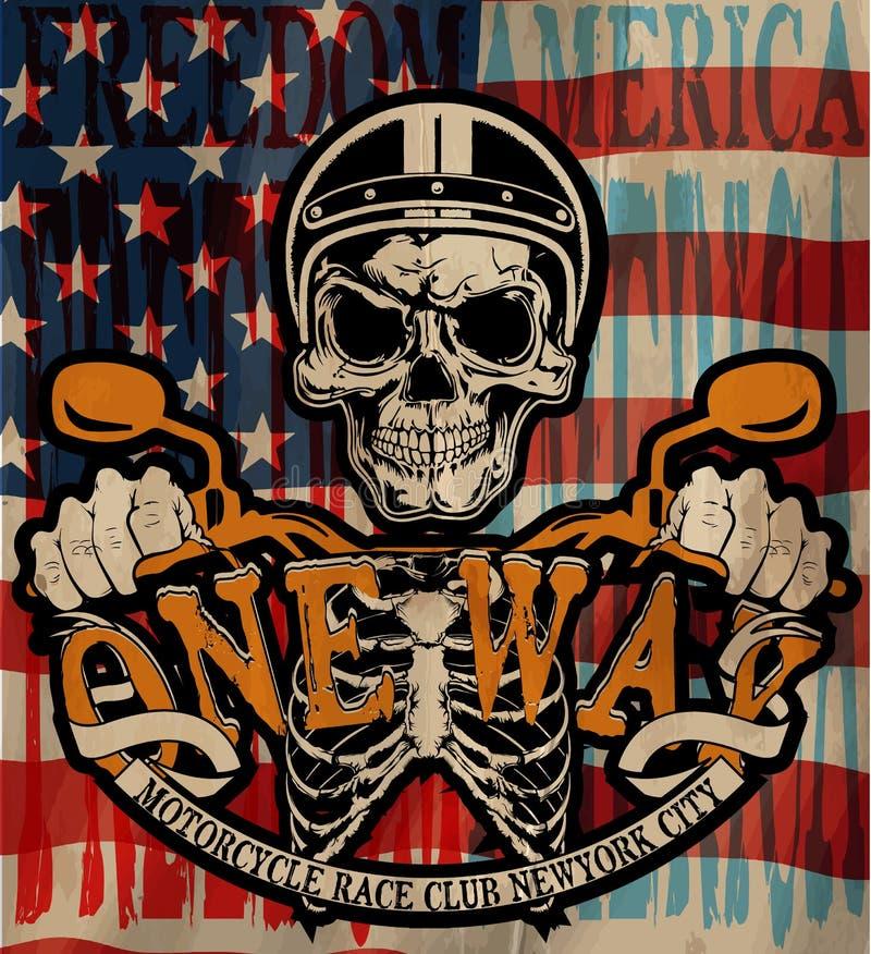 Gráfico de la camiseta del emblema del cráneo del motorista del vintage ilustración del vector