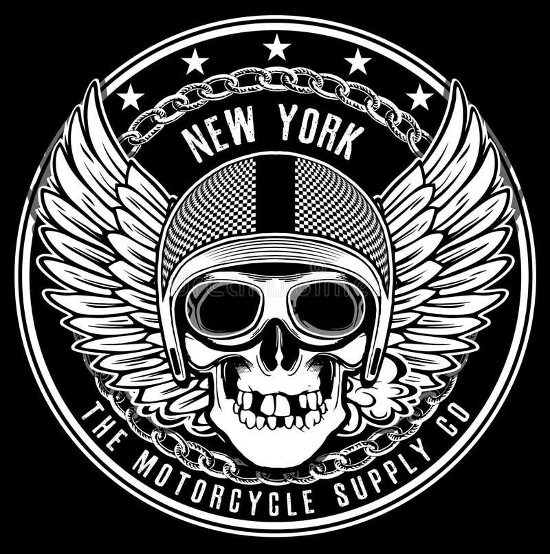 Gráfico de la camiseta del emblema del cráneo del motorista del vintage libre illustration