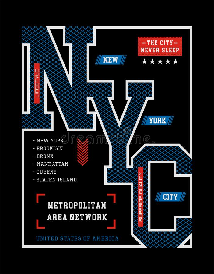Gráfico de la camiseta de New York City del diseño de la tipografía ilustración del vector