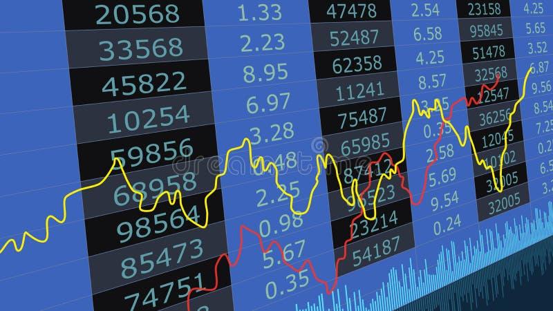 Gráfico de la carta de la bolsa de acción Datos financieros del mercado de acción Comercio abstracto de las barras de la vela del stock de ilustración