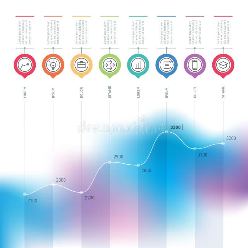 Gráfico de la carta de negocio del aumento Infographics del vector con educa libre illustration