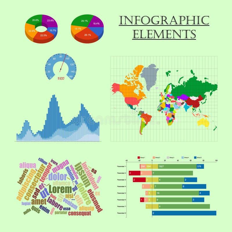 Gráfico de la carta del mapa del sistema de elementos de Infographic stock de ilustración