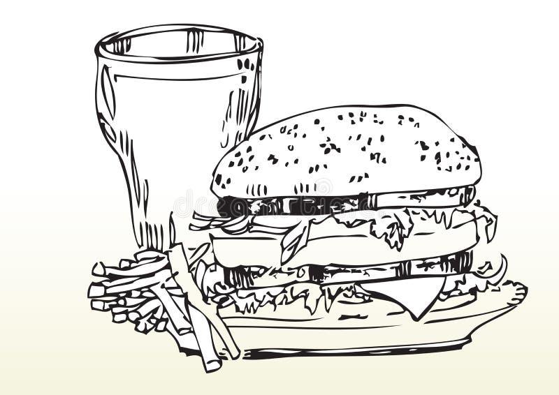 Gráfico de la comida de alimentos de preparación rápida libre illustration