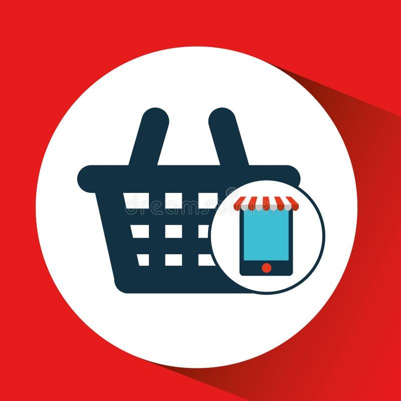 Gráfico de la compra del mercado de la cesta del comercio electrónico de Digitaces ilustración del vector