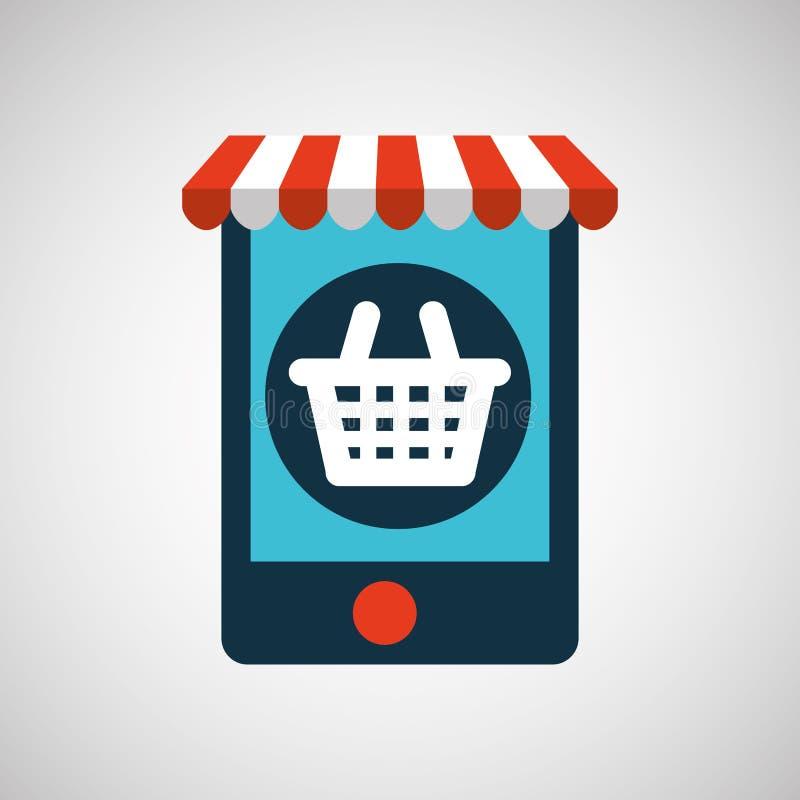 Gráfico de la compra del mercado de la cesta del comercio electrónico de Digitaces stock de ilustración