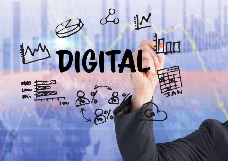 Gráfico de la escritura de la mano del hombre de negocios sobre digital ilustración del vector