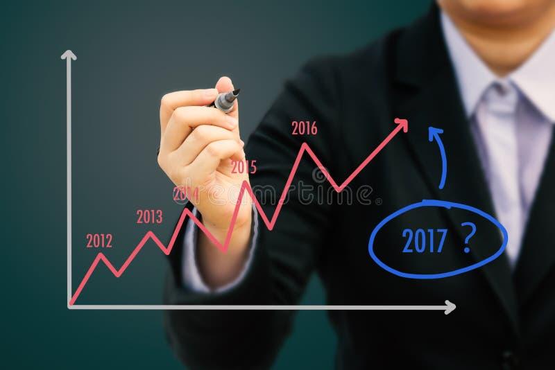 Gráfico de la estimación de la escritura del hombre de negocios por el año 2017 y x28; Tone& en colores pastel x29; imágenes de archivo libres de regalías