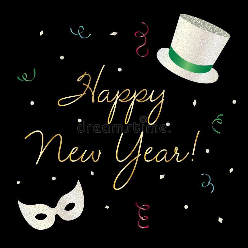Gráfico de la Feliz Año Nuevo con el sombrero de copa y la máscara stock de ilustración