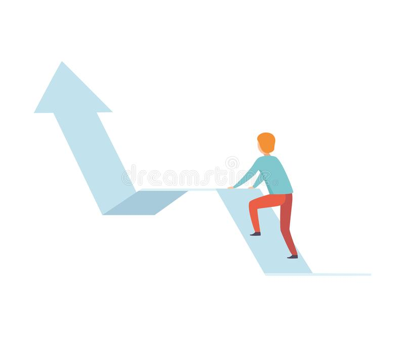 Gráfico de la flecha de Climbing Up Growth del hombre de negocios, negocio y ejemplo del vector del desarrollo de carrera stock de ilustración