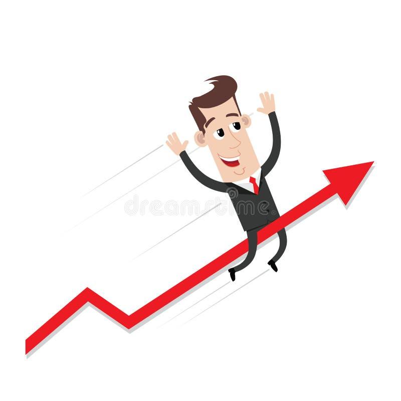 Gráfico de la flecha del éxito del montar a caballo del hombre de negocios stock de ilustración